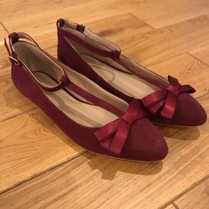 Anthropologie T-Strap Bow Flats